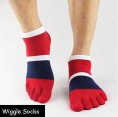 Wiggle Socks From Cerkos:  Toe Separator Socks, Five Finger Socks, 5 Toe Socks, Toe Shoe Socks (Red, Blue & White Wiggle Socks) Wiggle Socks https://cerkos.com/collections/wiggle-socks/products/wiggle-socks-unisex-toe-socks-toe-separator-socks-five-finger-socks-5-toe-socks-5-finger-socks-toe-shoe-socks?variant=34003634435