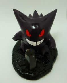 """POKEMON Gengar- A 3"""" polymer clay sculpture with smoky quartz crystal."""