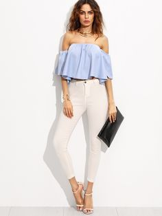 c50c12c63bf18 Blue Off The Shoulder Half Sleeve Crop Top Women Shirt New Style Beach Wear Vogue  Blouse Like and share this pure awesomeness! Visit us. SHEIN