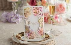 Luxury laser cut garden flowers roses special wedding invitation