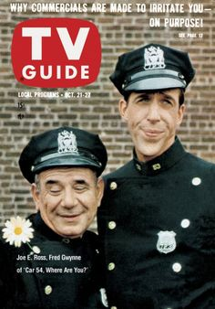 "TV Guide: October 21, 1961 - Joe E. Ross and Fred Gwynne of ""Car 54, Where Are You?"""