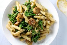 This Pesto Pasta with Broccolini and Organic Chicken Sausage is a great recipe for the first week of the Clean Program cleanse. Quinoa Pasta, Pesto Pasta, Pasta Recipes, Cooking Recipes, Healthy Recipes, Chicken Recipes, Pasta Dinners, Meals, Chicken