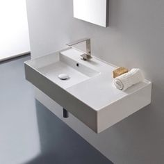 Bathroom Sink Rectangular Ceramic Wall Mounted Or Vessel With Counter E Scarabeo 5115 Upstairs Bathrooms