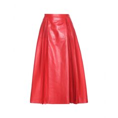 Gucci - Pleated A-line leather skirt - This coveted runway piece is one of our Gucci favourites. Cut in an A-line shape from butter-soft calf leather, the fire-red skirt is partially pleated and completed with pronounced, tonal stitching. Pair yours with a silk blouse and logo belt for the look of the season. seen @ www.mytheresa.com