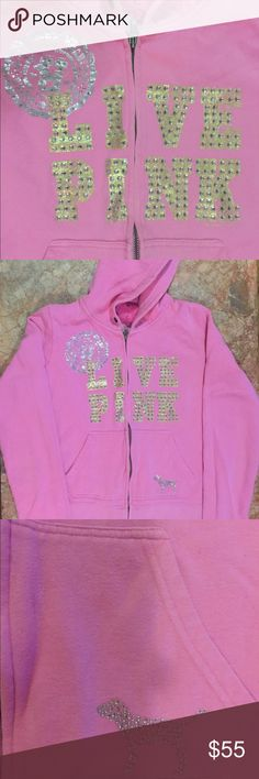 "PINK Bling LIVE PINK My Favorite Sweats Bling ""LIVE PINK"" hoodie by Victoria's Secret My Favorite Sweats PINK.  This is a classic fit hoodie that is 22"" long from shoulder.  Super soft and cozy.  Well loved and kept in good condition.  If you like bling, you'll absolutely love this hoodie. PINK Victoria's Secret Tops Sweatshirts & Hoodies"