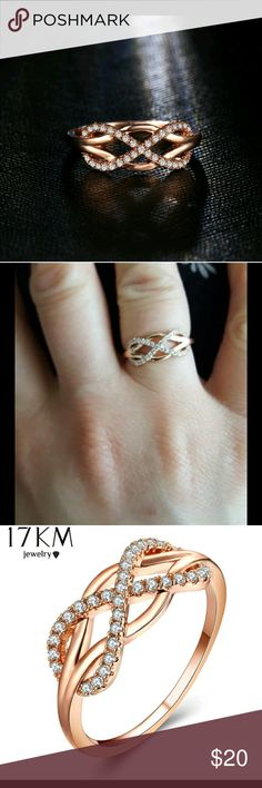 Gold plated infinity ring Brand new. Never used. All offers are welcome. Aloy. Nickle free material with shiny cubic zirconia. This ring is stunning Jewelry Rings