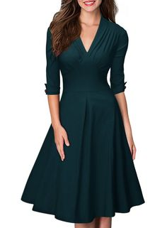 MIUSOL Women's Retro Deep-V Neck Half Sleeve Vintage Casual Swing Dress Green Small