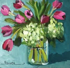"""Daily Paintworks - """"Nine Tulips"""" - Original Fine Art for Sale - © Martha Lever Floral Artwork, Abstract Flowers, Acrylic Painting Flowers, Paintings I Love, Painting Inspiration, Painting & Drawing, Flower Art, Watercolor Paintings, Art Photography"""