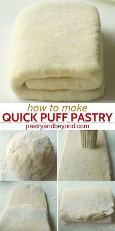 Quick Puff Pastry Recipe-You can easily make quick puff pastry from scratch in 15 minutes and use this homemade pastry dough recipe to make delicious dessert and savory recipes. Easy Puff Pastry Recipe, Pastry Dough Recipe, Puff Pastry Desserts, Puff Recipe, Köstliche Desserts, Delicious Desserts, Savoury Puff Pastry Recipes, Pastries Recipes, Puff Pastry Dough