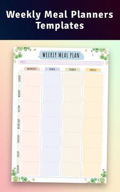 Put it with a magnet on your fridge in order to control your nutrition. It has a simple design and its structure is easy to use. This weekly meal planner template will suit you if you have difficulties with planning your weekly or daily meals. Sections available in this template: Week starting field for putting the first day of the week; Four sections:breakfast, lunch, dinner and snack for each day of the week; Water tracker. Weekly Meal Plan Template, Meal Planner Template, Meal Planner Printable, Printables, Dinner Planner, Monthly Meal Planner, Diary Planner, Happy Planner, Planner Sheets