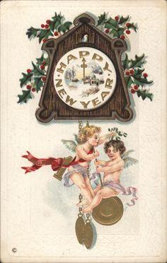 New Year~Cuckoo Clock~Cupid Angels Ride Pendulum Vintage Christmas Cards, Christmas Art, Vintage Cards, Christmas And New Year, Vintage Postcards, Happy New Year Message, Happy New Year Cards, Happy New Year 2019, Vintage Happy New Year
