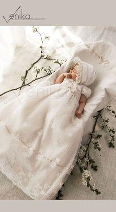 Vestido de tul y encaje para el bautismo u otra ceremonia en
