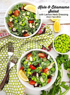 Kale and Edamame Salad with Lemon Herb Dressing