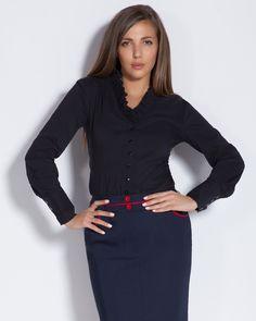 Вталена дамска риза с шал яка - тъмносиня - Orsis  #Efrea #Ефреа #online #онлайн #пазаруване #дрехи #риза #вталена #черна #шаляка