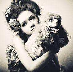 Russian Model Inga Krasiva with her poodle