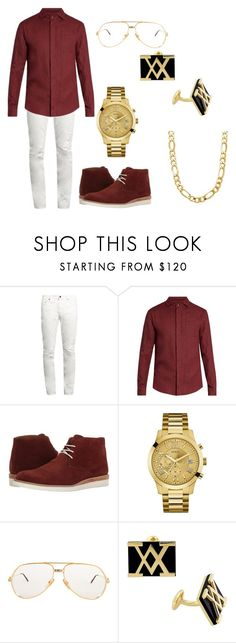 """""""All gold everything"""" by arianasmith1 on Polyvore featuring Yves Saint Laurent, Giorgio Armani, Lotus, GUESS, Cartier, Versace 19•69, men's fashion and menswear"""