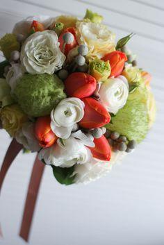 orange tulip wedding bouquet by Lily Sarah