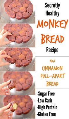 I could give this a go, I love monkey bread. Healthy Low Carb Gluten Free Monkey Bread (sugar free, low carb, high protein, gluten free) - Desserts with Benefits Low Carb Sweets, Low Carb Desserts, Healthy Desserts, Low Carb Recipes, Delicious Desserts, Dessert Recipes, Jelly Recipes, Allrecipes Desserts, Cake Recipes