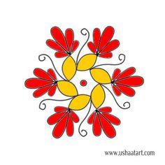 Flower Kolam 57---step by step design