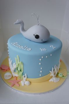 Under the sea themed tower top cake designed fro a birthday. Whale Cakes, Dolphin Cakes, Ocean Cakes, Dolphin Birthday Cakes, Baby Birthday Cakes, 2nd Birthday, Fondant Cake Designs, Fondant Cakes, Cupcake Cakes