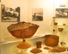 Cedar bark baskets from CPHM's Land of the Canoe People Gallery.