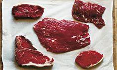 Cuts of steak (clockwise from top left): feather steak, onglet, bavette/goose skirt, point steak and T-Bone/porterhouse