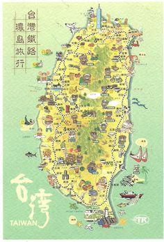 Map Postcard of Taiwan