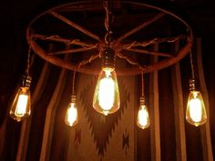 Wagon Wheel Chandelier   Edison Chandelier by LeviLight on Etsy, $295.00