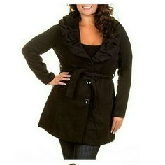 """Brand NEW plus size wool coat Black belted ruffle BRAnd new tags. Plus size Black Belted coat. Slimming sleeves. Rosette ruffle collar. Front button closure. Content:90% Polyester, 10% WOOL  🌟measurements. *ARMHOLE=1X=20"""" *BICEP AREA : 15"""" Size: 1X Pit to pit : 21"""" Waist (side by side) : 20"""" Hips   (side by side): 26"""" Sleeves Length: 24"""" Length : 34"""" Time and a half Jackets & Coats Trench Coats"""