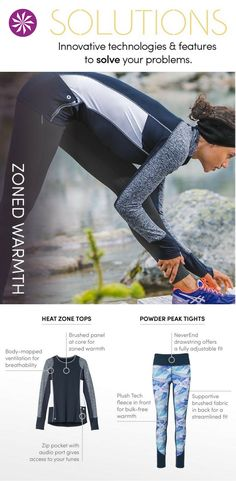 Cold weather workout gear: we created fabrics with added core insulation and breathability where you need it.