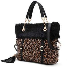 New Style Leopard Diamond Tassel Shoulder Bag Handbags