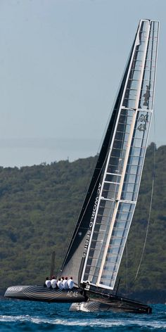 The high-tech wing-sailed catamaran AC45 for the 34th America's sailed for the first time on the Hauraki Gulf in Auckland - New Zealand.
