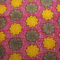 African fabric, 100% cotton, Floral print, Hollandais, Holland Wax, Pink fabric, By the Yard, Dutch wax, Julius Holland, Pink and Yellow