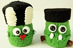 Frankenstein & Bride of Frankenstein Cupcakes - The Bearfoot Baker
