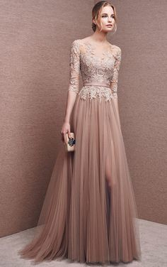 vestido largo fiesta con encaje y tul (Bateau+1/2+Sleeves+Tulle+Chocolate+A+Line+Long+Prom+Dress)
