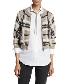 Brunello Cucinelli Plaid Zip-Front Cropped Sweater, Grain