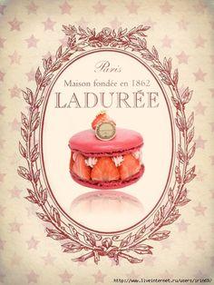 #Laduree #Macarons Decoupage Vintage, Shabby Vintage, Vintage Flowers, Vintage Prints, Vintage Posters, Decoration Patisserie, Etiquette Vintage, Cafe Art, Vintage Silhouette