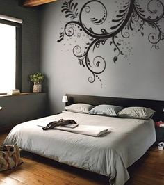 I want to do a wall stencil like this in a bedroom instead of hanging art over my head. - love this