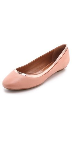 pink and metallic patent leather flats