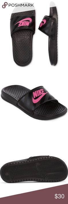 Nike pink & black sandals Nike slide sandals, foam footbed with built-in grooves. rubber/synthetic upper New in box Nike Shoes Sandals