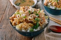 Oyakodon (Japanese Chicken & Egg Rice Bowls), by thewoksoflife.com