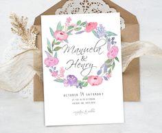 "wedding invitation ""Manuela Collection"" - Watercolor roses,wedding invites,elegant flowers,romantic fine style,handmade,digital files,design by MARAQUELA"