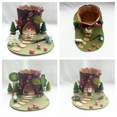 Berry Patch Flower Tree Stump Cottage Playscape Play Mat - wool felt storytelling fairytale - Dollhouse woodland fairy house