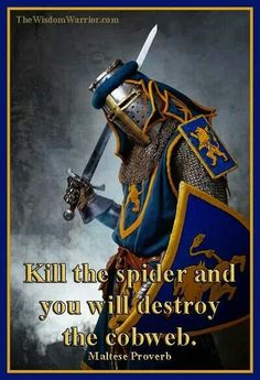 Kill the spider and you will destroy the cobweb. — Maltese Proverb