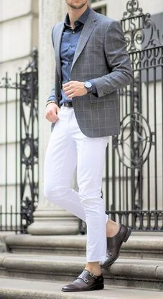 white jeans, a navy shirt, a grey windowpane jacket and brown shoes