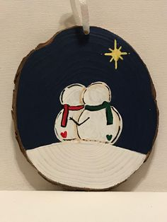 """5""""x4.5""""x0.25"""" Painted with acrylic paint & sealed with mod podge Painted Christmas Ornaments, Christmas Wood, Diy Christmas Gifts, Christmas Projects, Christmas Decorations, Christmas Paintings, Holiday Crafts, Wood Slices, Snowmen"""