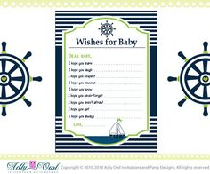Wishes for Baby Nautical Baby Shower by adlyowlinvitations on Etsy