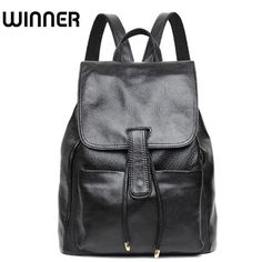 Winner Brand Soft Cow Real Leather String Lady College School Backpacks  Luxury Back Bag Genuine Leather Backpack for Women 8d4e9b1e42c36