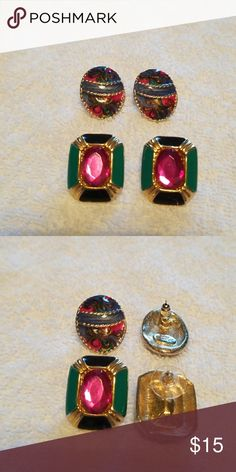 Earrings Two beautiful pair of earrings. One pair has a blue, pink,  and Gold swirl pattern. The other pair is gold, green, and black with a pink gem in the middle. Jewelry Earrings