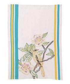 Embroidered Yellow Bird Kitchen Towel - Set of Two #zulily #zulilyfinds